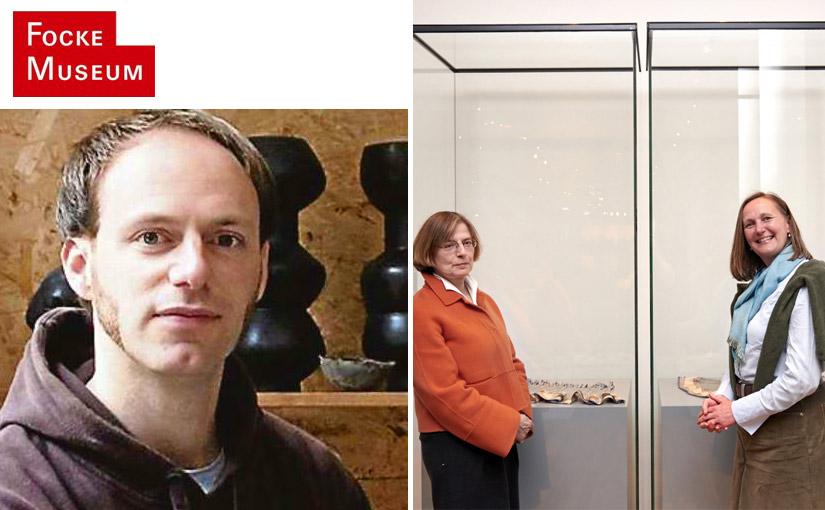 Der Auguste-Papendieck-Preis ist dem Keramiker Lutz Könnecke verliehen worden. Ausstellungskuratorin Uta Bernsmeier mit Lucia Schwalenberg (Nominierung).